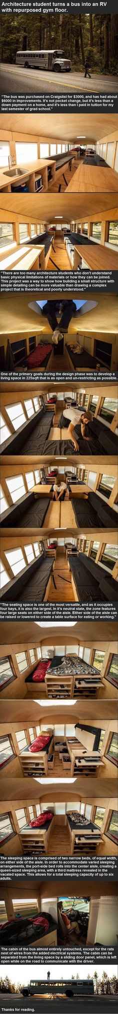 Architect Student Refurbishes An Old Bus Using A Gym Floor  12 Pics