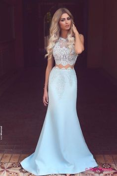 Prom Dresses,Long Prom Dresses,Baby Blue Two Piece Evening Dress Long Lace Mermaid 2018 Prom Dresses Cheap PD20187179