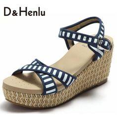 6fbabf96edae4  D H Summer Blue And White Stripes Plataforma Sandalias High Heel Sandals  Platform Wedges Sandal