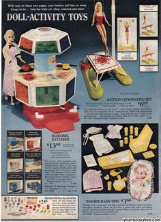 Barbie Karosel Kitchen, Action Gymnastics and Babysitting Sets from the Sears Christmas Catalog, My Childhood Memories, Childhood Toys, Play Barbie, Barbie 80s, Barbie Kitchen, Old School Toys, Christmas Books, Christmas Catalogs, Christmas Gifts