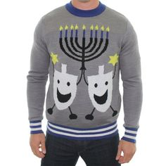 This is what my husband is wearing to the Ugly Sweater Party we are invited to. Ugly Christmas Sweater - Hanukkah Sweater by Tipsy Elves: Clothing Ugly Hanukkah Sweater, Mens Ugly Christmas Sweater, Ugly Sweater Party, Holiday Sweaters, Happy Hanukkah, Hannukah, Hanukkah Diy, Hanukkah Candles, Hanukkah Decorations