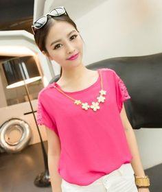Summer Fashion Rose Lace Chiffon Blouse