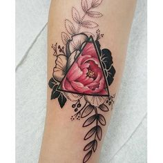 Geometric floral tattoo by Jessy D'Auria tattoos