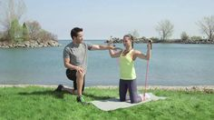 7 fitness moves you can do anywhere. One requires a band and one requires a tree or column/post (doorframe?)