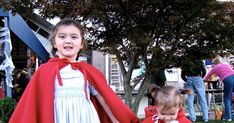 I decided to make the girls little red riding hood capes for Halloween this year since I had some fleece on hand that I'd purchased a while.