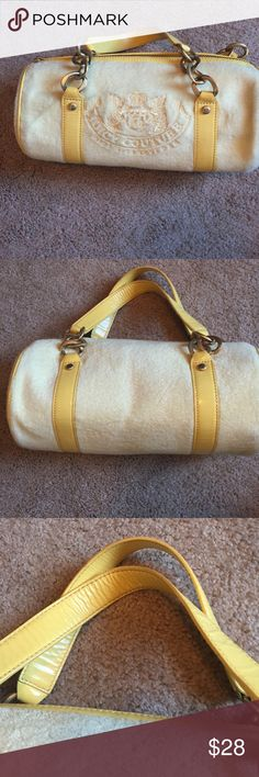 Juicy couture purse Terry cloth and leather. Beautiful barrel purse with no stains or marks. Juicy Couture Bags Mini Bags