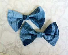 Floral linen hair bows
