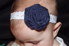 navy rose white lace headband. $7.00, via Etsy.