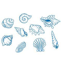 Ocean+seashells+vector+813474+-+by+Seamartini on VectorStock®