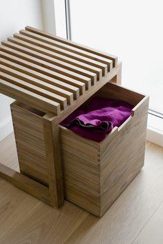 Oh, söpö penkki eteiseen. Cutter Box, Skagerak. Design by Niels Hvass.