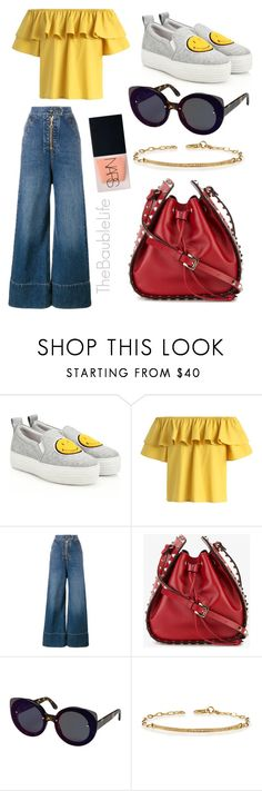 """JOSHUA SANDERS Smiley Face Platform Sneakers"" by thebaublelife ❤ liked on Polyvore featuring Joshua's, Chicwish, E L L E R Y, Valentino, RetroSuperFuture, Sydney Evan and NARS Cosmetics"
