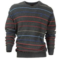 $115  INGLE - Men's casual crew neck charcoal sweater with coloured stripe. Knitwear, Charcoal, Crew Neck, Trousers, Men Sweater, Men Casual, Sweaters, Jackets, Shirts