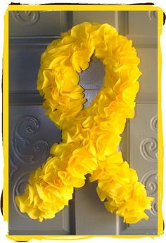 Suicide Awareness Yellow Ribbon Wreath - Home & Garden Products for a Cause by Filanthropists.com