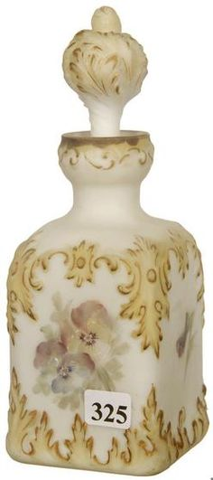 Cologne Bottle; Mt Washington Glass, Square, White, Leaf Design, Yellow & Gold Trim, 8 inch.
