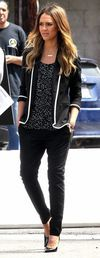 Celebrity street style. Glittering top and black and white blazer. Via