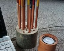 Wooden Pencil Holder - WoodenOnion pencil holder/ desk tidy for pens, pencils, crayons, paintbrushes etc. Perfect gift for art lovers!