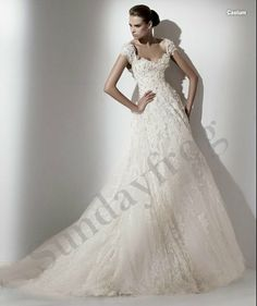 Freeshipping Best Selling Custom Made Sweetheart Cap Sleeve Beaded Lace A-Line Ruffle Wedding Dresses Bridal Gowns -LS313 $176.00