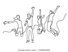 continuous line drawing of four jumping happy team members , Art Drawing Images, Art Drawings, Line Images, Images Photos, Family Sketch, Minimal Drawings, Dancing Drawings, Flame Art, Link Art