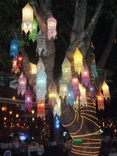Whimsical Lanterns. This totally makes me think of the teacup ride at Disneyland at night!