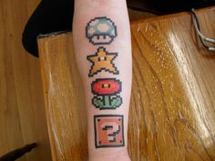 Nintendo tattoos Gamer Tattoos, New Tattoos, Body Art Tattoos, Small Tattoos, Tatoos, Nintendo Tattoo, Gaming Tattoo, Super Mario Tattoo, Arte Assassins Creed