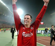 Carra celebrates achieving the impossible after the Reds fight back from 3-0 down against Milan in Istanbul