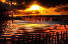 Sunset in snowy UK