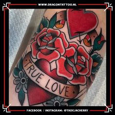 Designed and Tattooed by: Tadeja Dragon Tattoo. Tattoo Portfolio, First Tattoo, Color Tattoo, True Love, Dragon, Traditional, Tattoos, Heart, Real Love