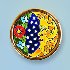 Decorative Plate 9 cms. Handmade in Sevilla.  Isbiliya (Al-Ándalus). Enamels and 24K gold www.madeinandalusia.es