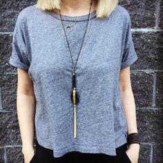 Agate Pendant Necklace - Black - A Jewelry Wonderland  - 1