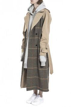 Beige Tartan Oversize Trench Coat by Wanda Nylon - Shop it here : Precouture.com