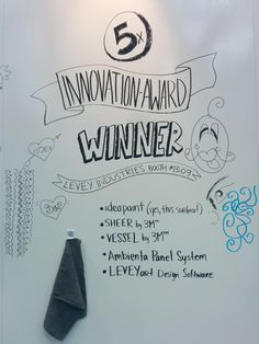Congratulations, @leveyindustries! And what a fun way to announce with @IdeaPaint! @IDCanadaTweets   Thanks @IIDEX!  #ideapaint #dryerase #innovationaward #iidex #winner