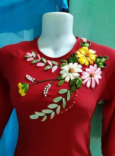 ideas embroidery designs indian neck for 2019 Ribbon Embroidery Tutorial, Hand Embroidery Dress, Kurti Embroidery Design, Basic Embroidery Stitches, Floral Embroidery Patterns, Hand Embroidery Videos, Embroidery On Clothes, Flower Embroidery Designs, Embroidered Clothes