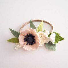 Neutral pink anemone small flower crown  felt flower crown/