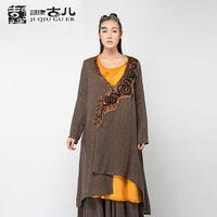 מותג מקורי jiqiuguer פשתן נוזל אפליקציות טוניקת חולצות loose נשים vintage סתיו קרדיגן נשים לובשות