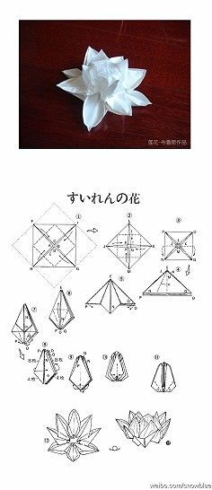 Origami lotus with diagrams.