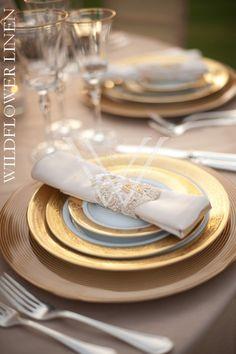 Glimmer Lace Champagne Overlay and Crepe Back Satin Blush Underlay; Matte Satin Ivory Napkin