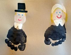 Footprint Pilgrims and Cornucopia (Kids Thanksgiving Crafts) - Crafty Morning