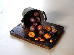 Plums - Miniature in 1:12 by Erzsébet Bodzás, IGMA Artisan
