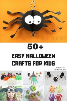 More than 50 easy Halloween crafts for kids. Halloween mummy crafts to the cutest fingerprint keepsakes, spider crafts pumpkin crafts to have lots of fun! halloween crafts for kids Mummy Crafts, Halloween Crafts For Kids, Halloween Activities, Fall Crafts, Diy Crafts For Kids, Crafts To Sell, Holiday Crafts, Arts And Crafts, Kids Diy