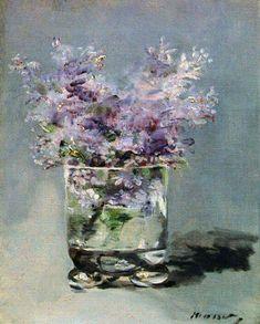 Lilacs in a Glass, Monet. I think it might be by Manet not Monet. Art Floral, Art Amour, Art Et Illustration, Contemporary Abstract Art, Impressionist Art, Renoir, Art Design, Interior Design, Pics Art