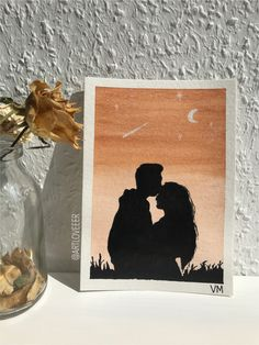 Sillouette Painting, Love Canvas Painting, Small Canvas Paintings, Small Canvas Art, Diy Canvas Art, Watercolor Paintings, Painting Love Couple, Watercolor Sunset, Easy Paintings