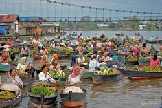 a floating market in South Kalimantan