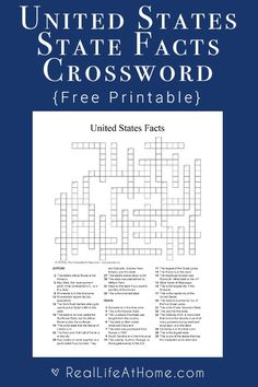 Worksheet: USA Facts Crossword Puzzle