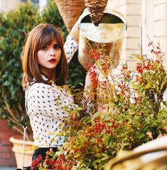 Clara's spying. Girl, don't waste water.