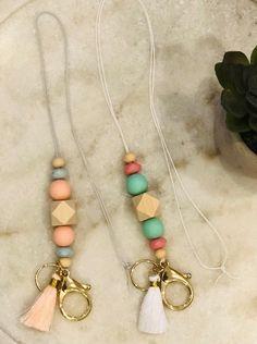 Lanyard - id badge lanyard, teacher lanyard, geometric, lanyard necklace Cute Lanyards, Beaded Lanyards, Lanyard Necklace, Beaded Necklace, Necklaces, Bullet Journal Diy, Diy Keychain, Keychains, Teething Beads