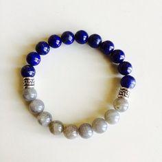 Healing Anxiety ~ Genuine Labradorite & Lapis Lazuli Bracelet w/ Sterling Silver Celtic Charms