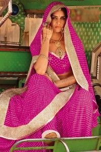 Deep Fuchsia Pink Faux Georgette Festival Embroidered Saree