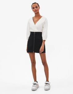 Discover this and many more items in Bershka with new products every week Denim Skirt, Fashion News, High Waisted Skirt, Contrast, Skirts, Midi Skirts, Latest Trends, Spring, Women