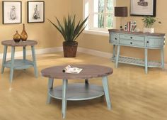 """Round Cocktail Table """"Lakeview"""" in Seafoam and Medium Brown. Tennessee In-Stock Now! Hardwood Furniture, Home Furniture, Wholesale Furniture, Cocktail Tables, Dining Set, Home Office, Bar Stools, Medium Brown, Bedroom"""