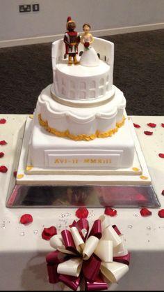 - Roman themed wedding cake front